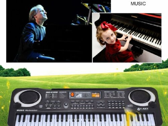61 Keys Electronic Piano Keyboard With Microphone Children Musical Instrument KG
