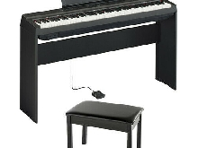 Yamaha P-125 Digital Piano Bundle with Stand and Bench (Black)