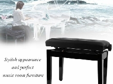 Piano/Keyboard Bench, Thick High Quality PU Cushion Reglable 46cm-57cm Rangement