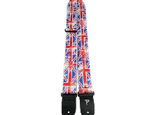 Sangle en Cuir Perri' pour Guitare et Basse  Motif Drapeau Britannique (UK Flag)