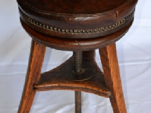 antique Tabouret piano XIX cuir rond réglable Stool Schemel sgabello